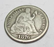 1876 Carson CIty CC Seated Liberty Dime Fine
