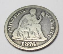 1876 Carson City CC VG/FINE Seated Liberty Dime