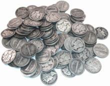Lot of 100 - 90% Mercury Dimes - Mixed