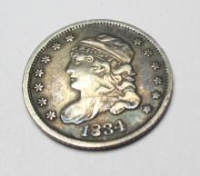 1834 VF XF Bust Half DIme Nickel