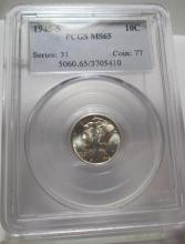 1945 S MS 65 Mercury Dime PCGS