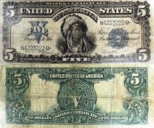 $5 Indian Chief Silver Certificate 1899 G-VG