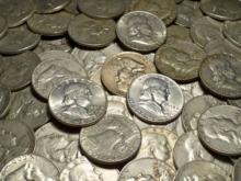 Lot of 50 Random Date Franklin Half Dollars