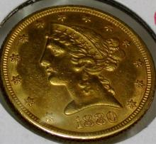 1880 P $ 5 Gold Liberty Half Eagle