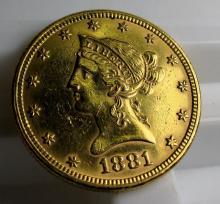 1881 $ 10 Gold Liberty Eagle