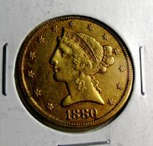 1880 s $5 Gold Liberty Half Eagle