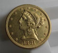 1881 P $5 Gold liberty Half Eagle