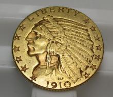 1910 D $ 5 Gold Indian Half Eagle