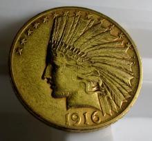 1916 S $ 10 Gold Indian Eagle