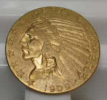1909 $ 5 Gold Indian Half Eagle