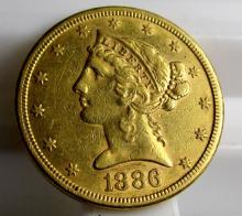 1886 s $ 5 Gold Libery Half Eagle