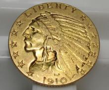 1910 S $ 5 Gold Indian Half Eagle