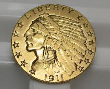 1911 S $5 Gold Indian Half Eagle