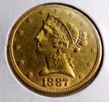 1887 s $ 5 Gold Liberty Half Eagle