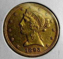 1893 $5 Gold Liberty Half Eagle