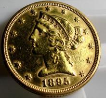 1895 P $ 5 Gold Liberty Half Eagle