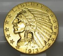 1913 $5 Gold Indian Half Eagle