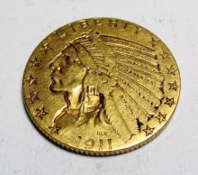 1911 P $ 5 Gold Indian Head Coin AU Grade The