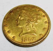 1880 P $10 XF/ AU Grade Liberty Head Gold The