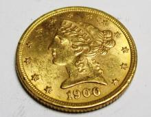1900 P $5 AU grade Liberty Gold The item is the