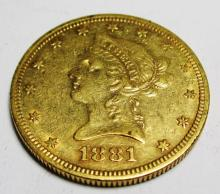 1881 S $10 Better Date Gold Liberty Head The item