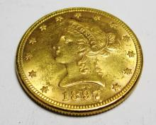 1897 P $10 AU grade Liberty Head Gold the item is
