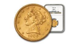1906 $ 5 Gold Liberty MS 61 NGC