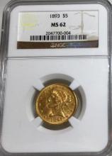 1893 MS 62 NGC $5 Gold Liberty