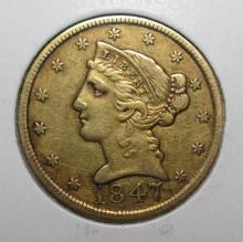 1847 P $ 5 Gold Liberty Better Date!!! Fine Grade