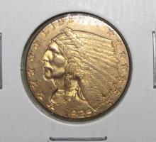 1925 D $ 2.5 Gold Indian Nice AU