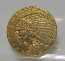 1912 $ 2.5 Gold Indian F-XF