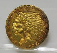 1909 $2.5 Gold Indian F-XF