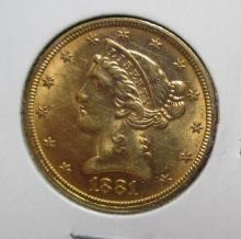 1881 $ 5 Gold Liberty High Grade Coin