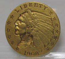 1908 $ 2.5 Gold Indian