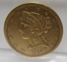 1901 s $ 5 Gold Liberty Better Date