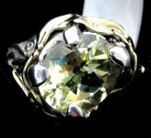 14k and S/S Ring with Melon Quartz Center Stone