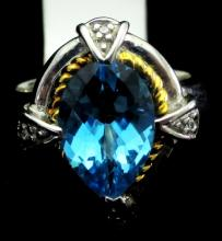 Natural Blue Topaz  Ring set in S/S w/ 14k Gold