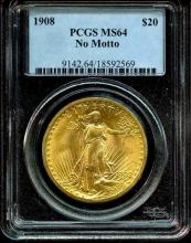 1908 MS 64 $ 20 Gold Saint Gauden's PCGS