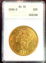 1892 s AU 50 ANACS $ 20 Gold Liberty Double Eagle