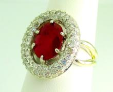 14k Mount  Ruby and Diamond Ring