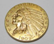 1909 $ 5 Gold Indian Half Eagle BU