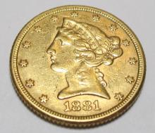 1881 $ 5 Gold Liberty Half Eagle Coin