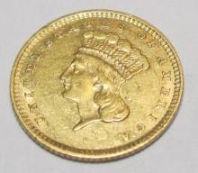 1857 Type III VF Plus $ 1 Gold Coin