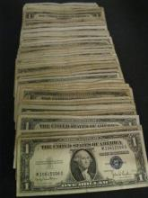 Lot of (100) Circulated Silver Certificates-Mix