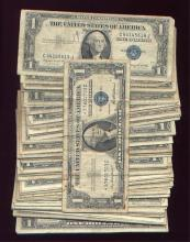 100 Circulated Silver certificates