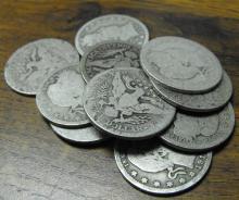 Lot of 10 Barber Quarter Dollars-Circulated