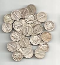 50 pcs. Mercury Dimes 90% Silver Mixed Dates