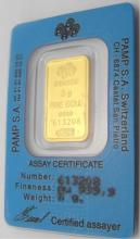 5 Gram Pamp Suisse Pure Gold Ingot on Card