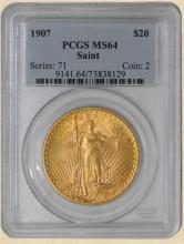 1907 p St. Gaudens  $ 20 MS 64 PCGS Gold Coin
