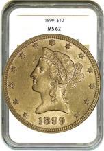 1899 $10 Gold Liberty MS 62 NGC